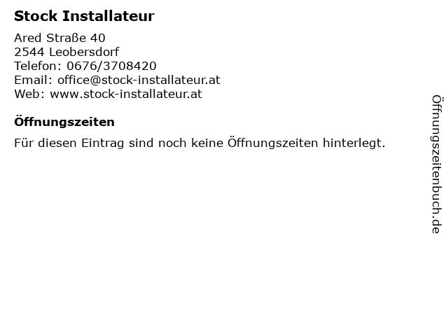 Stock Installateur in Leobersdorf: Adresse und Öffnungszeiten