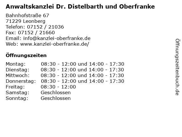 Anwaltskanzlei Dr. Distelbarth und Oberfranke in Leonberg: Adresse und Öffnungszeiten