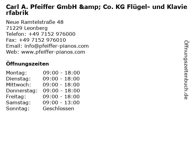 Carl A. Pfeiffer GmbH & Co. KG Flügel- und Klavierfabrik in Leonberg: Adresse und Öffnungszeiten