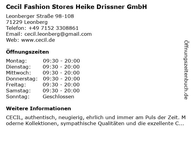 Cecil Fashion Stores Heike Drissner GmbH in Leonberg: Adresse und Öffnungszeiten