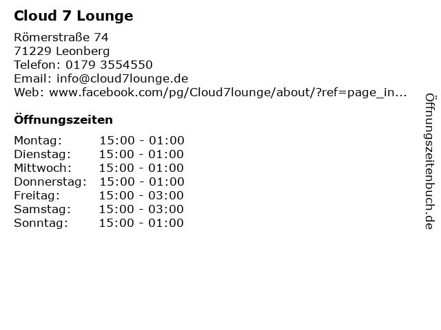 Cloud 7 Lounge in Leonberg: Adresse und Öffnungszeiten