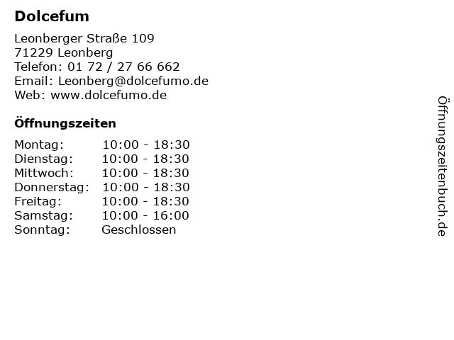 Dolcefum in Leonberg: Adresse und Öffnungszeiten