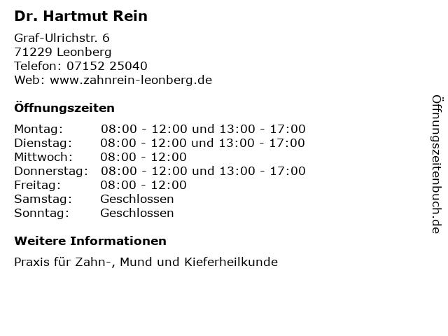 Dr. Hartmut Rein in Leonberg: Adresse und Öffnungszeiten
