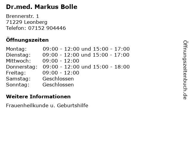 Dr.med. Markus Bolle in Leonberg: Adresse und Öffnungszeiten