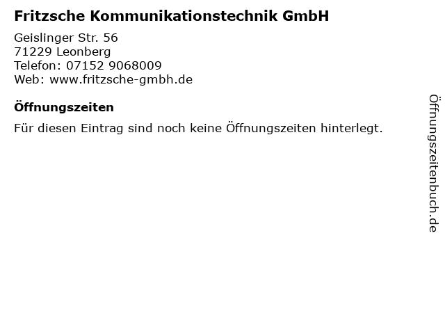 Fritzsche Kommunikationstechnik GmbH in Leonberg: Adresse und Öffnungszeiten