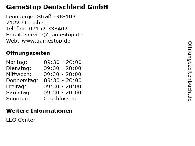 GameStop Deutschland GmbH in Leonberg: Adresse und Öffnungszeiten