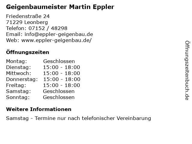 Geigenbaumeister Martin Eppler in Leonberg: Adresse und Öffnungszeiten
