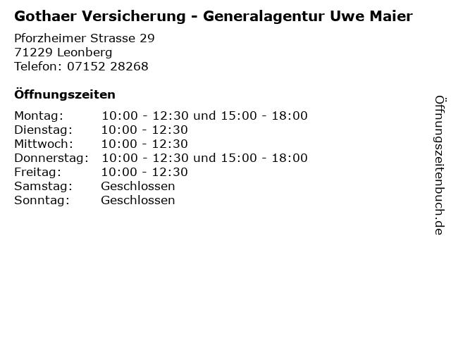 Gothaer Versicherung - Generalagentur Uwe Maier in Leonberg: Adresse und Öffnungszeiten