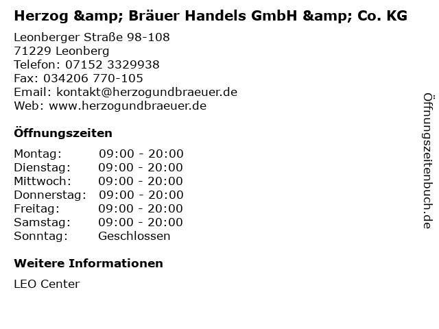 Herzog & Bräuer Handels GmbH & Co. KG in Leonberg: Adresse und Öffnungszeiten