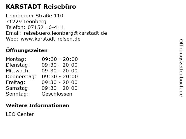 KARSTADT Reisebüro in Leonberg: Adresse und Öffnungszeiten