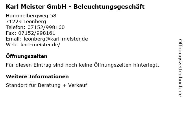 Karl Meister GmbH - Beleuchtungsgeschäft in Leonberg: Adresse und Öffnungszeiten