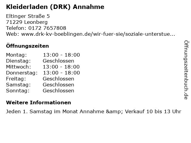 Kleiderladen (DRK) Annahme in Leonberg: Adresse und Öffnungszeiten