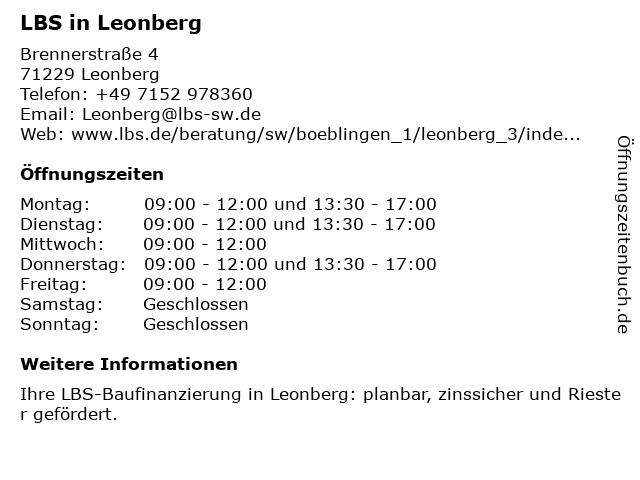 LBS in Leonberg in Leonberg: Adresse und Öffnungszeiten
