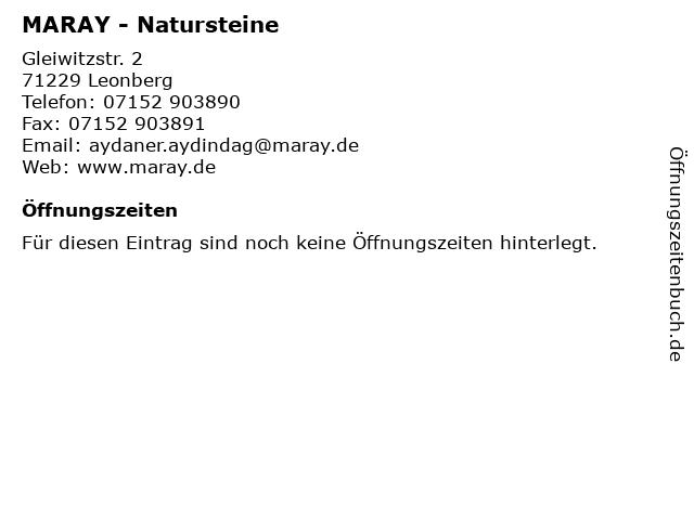 MARAY - Natursteine in Leonberg: Adresse und Öffnungszeiten