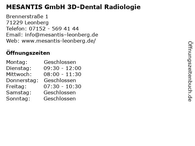 MESANTIS GmbH 3D-Dental Radiologie in Leonberg: Adresse und Öffnungszeiten