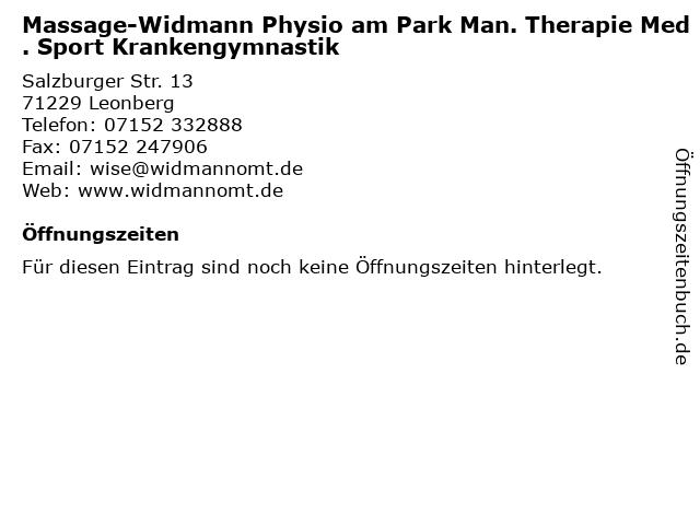 Massage-Widmann Physio am Park Man. Therapie Med. Sport Krankengymnastik in Leonberg: Adresse und Öffnungszeiten