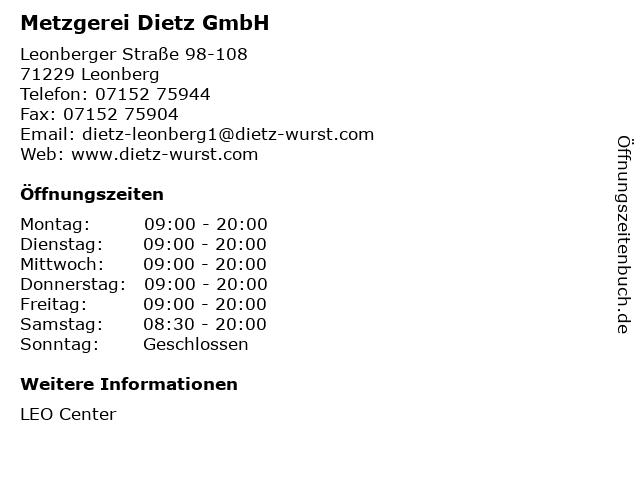 Metzgerei Dietz GmbH in Leonberg: Adresse und Öffnungszeiten