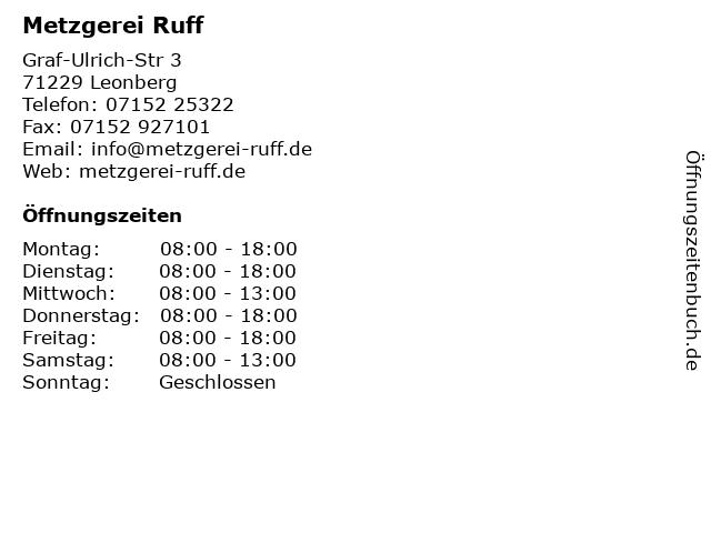 Metzgerei Ruff in Leonberg: Adresse und Öffnungszeiten