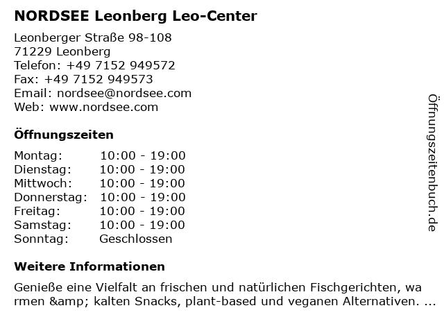NORDSEE Leonberg Leo-Center in Leonberg: Adresse und Öffnungszeiten