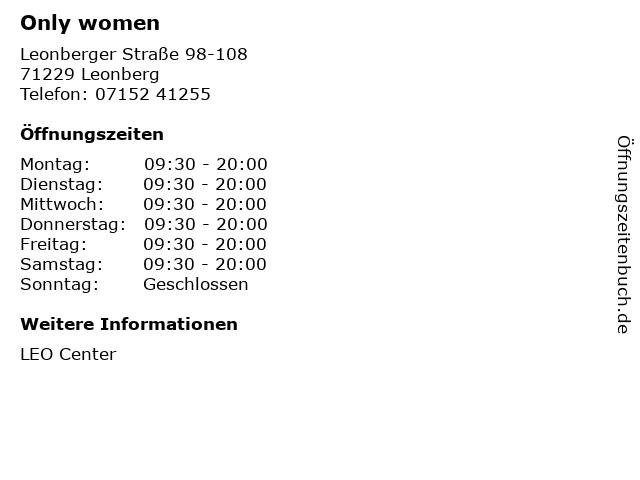 Only women in Leonberg: Adresse und Öffnungszeiten