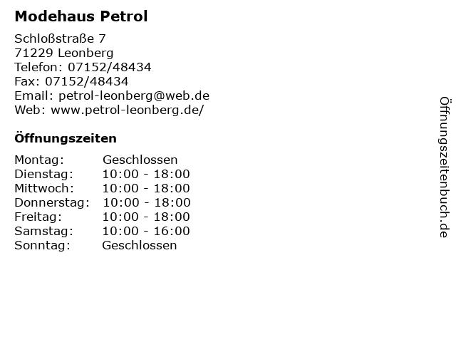 Petrol in Leonberg: Adresse und Öffnungszeiten