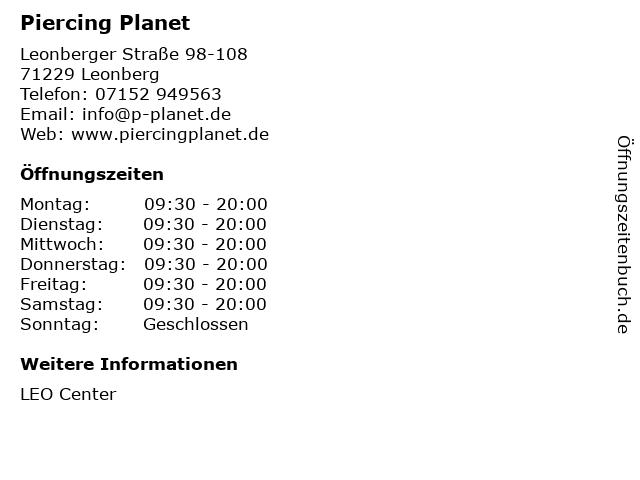 Piercing Planet in Leonberg: Adresse und Öffnungszeiten