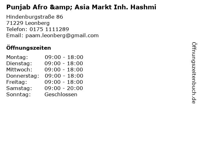 Punjab Afro & Asia Markt Inh. Hashmi in Leonberg: Adresse und Öffnungszeiten