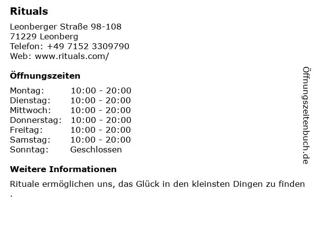 Rituals Cosmetics Germany GmbH in Leonberg: Adresse und Öffnungszeiten