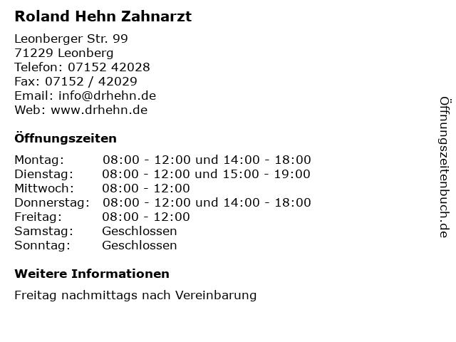 Roland Hehn Zahnarzt in Leonberg: Adresse und Öffnungszeiten