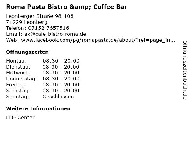Roma Pasta Bistro & Coffee Bar in Leonberg: Adresse und Öffnungszeiten
