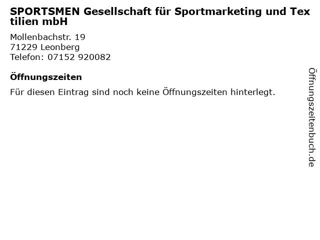 SPORTSMEN Gesellschaft für Sportmarketing und Textilien mbH in Leonberg: Adresse und Öffnungszeiten