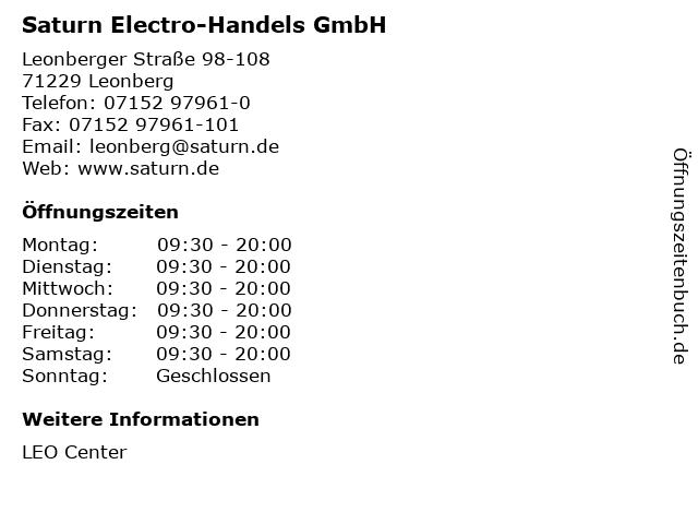 Saturn Electro-Handels GmbH in Leonberg: Adresse und Öffnungszeiten