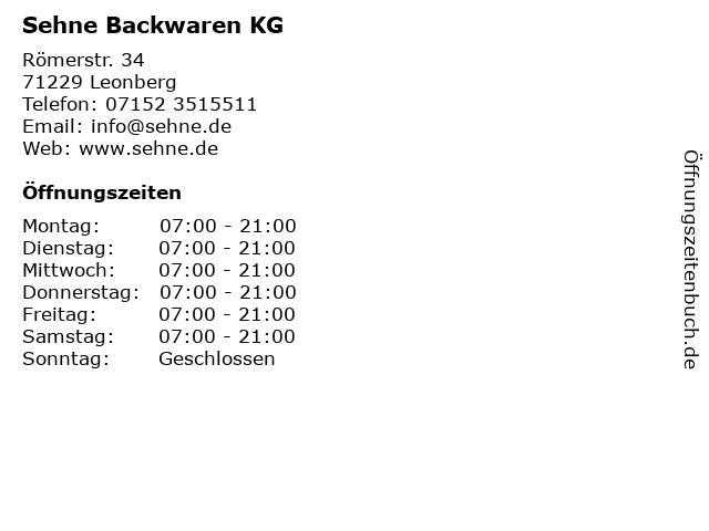 Sehne Backwaren KG in Leonberg: Adresse und Öffnungszeiten