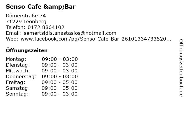 Senso Cafe &Bar in Leonberg: Adresse und Öffnungszeiten