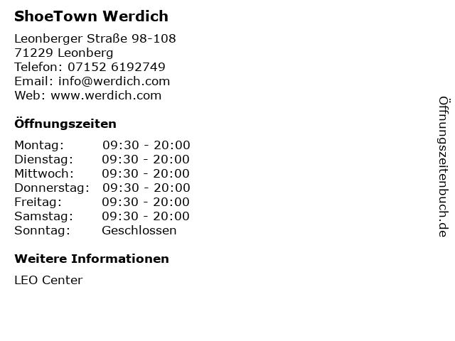 ShoeTown Werdich in Leonberg: Adresse und Öffnungszeiten