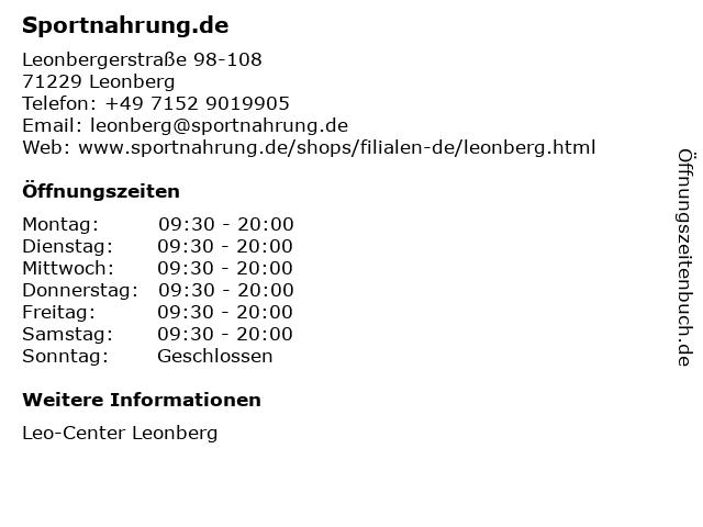 Sportnahrung.de in Leonberg: Adresse und Öffnungszeiten