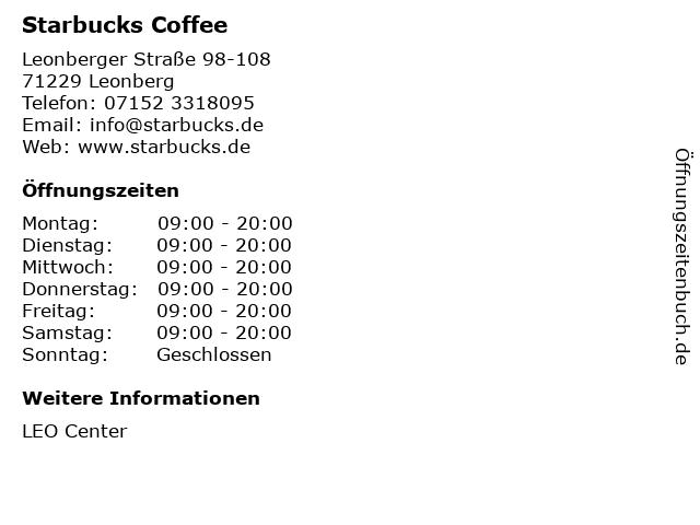 Starbucks Coffee in Leonberg: Adresse und Öffnungszeiten