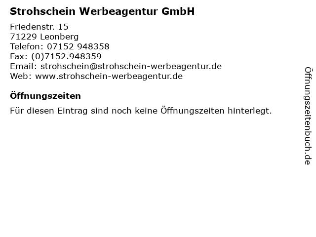 Strohschein Werbeagentur GmbH in Leonberg: Adresse und Öffnungszeiten