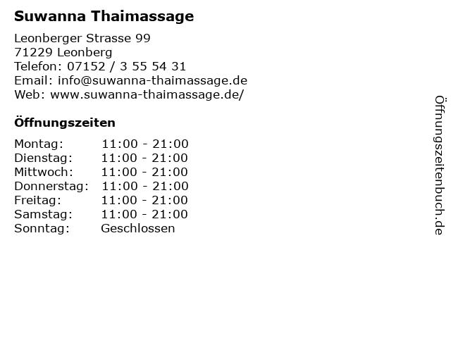 Suwanna Thaimassage in Leonberg: Adresse und Öffnungszeiten