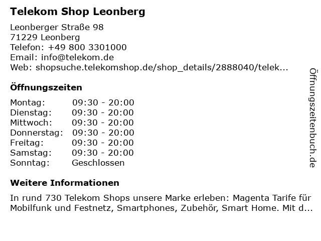 Telekom Shop Leonberg in Leonberg: Adresse und Öffnungszeiten