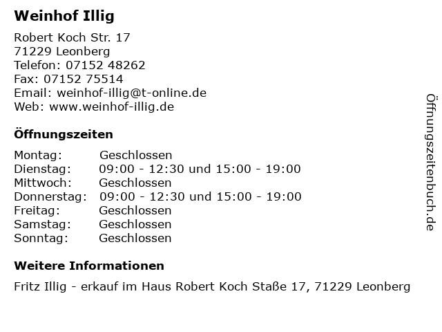 Weinhof Illig in Leonberg: Adresse und Öffnungszeiten