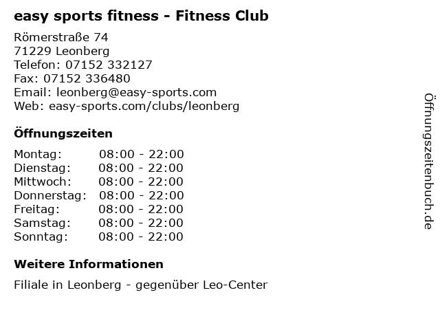 easy sports fitness - Fitness Club in Leonberg: Adresse und Öffnungszeiten