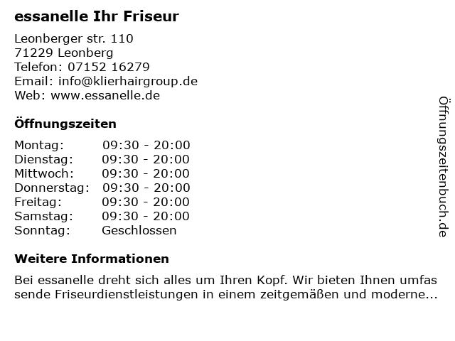 essanelle Ihr Friseur in Leonberg: Adresse und Öffnungszeiten