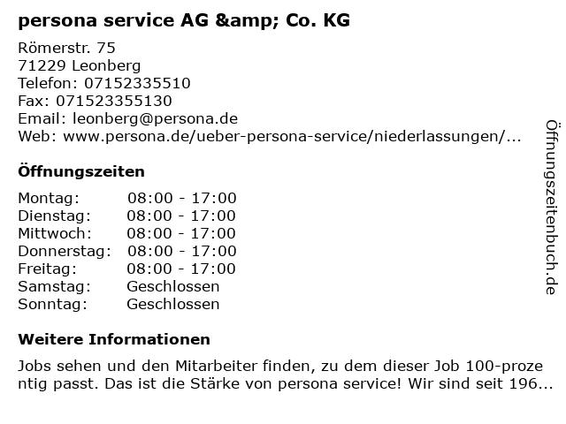persona service AG & Co. KG in Leonberg: Adresse und Öffnungszeiten