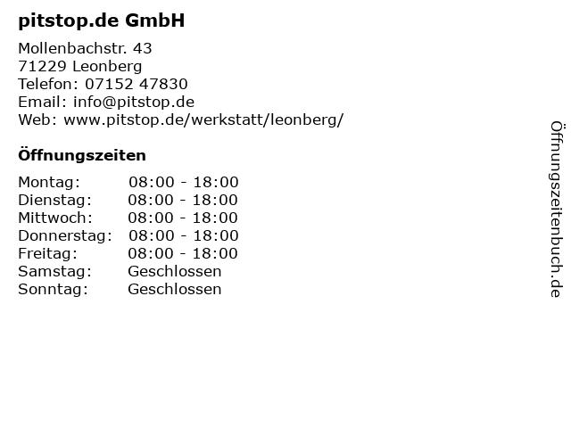 pitstop.de GmbH in Leonberg: Adresse und Öffnungszeiten