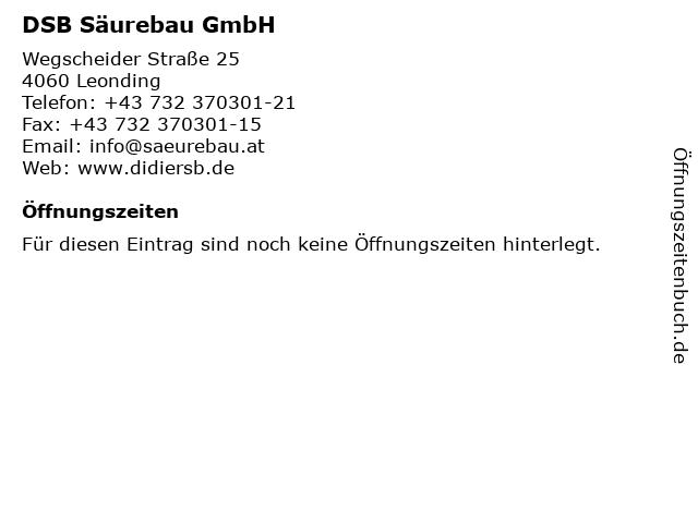 DSB Säurebau GmbH in Leonding: Adresse und Öffnungszeiten
