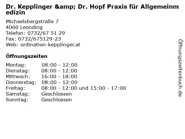 Dr. Erwin Kepplinger Praktischer Arzt in Leonding: Adresse und Öffnungszeiten