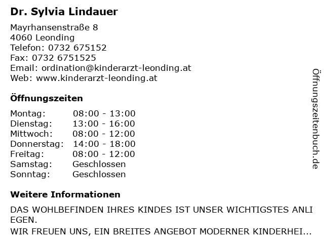 Dr. Sylvia Lindauer in Leonding: Adresse und Öffnungszeiten