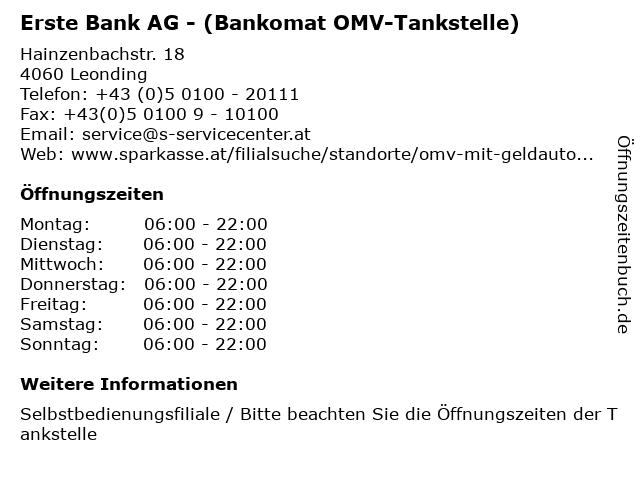 Erste Bank AG - (Bankomat OMV-Tankstelle) in Leonding: Adresse und Öffnungszeiten