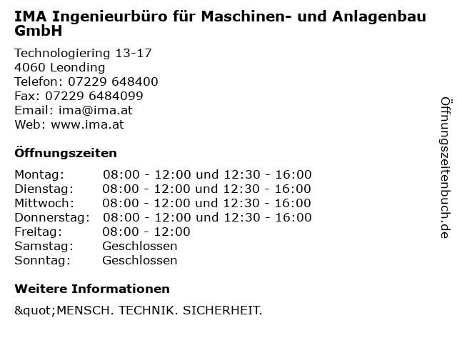 IMA Ingenieurbüro für Maschinen- und Anlagenbau GmbH in Leonding: Adresse und Öffnungszeiten